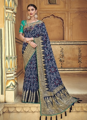 navy blue embroidered patola saree with blouse