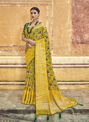 Yellow embroidered patola saree with blouse