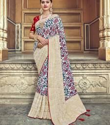 White embroidered patola saree with blouse