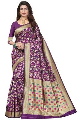 Purple Woven Banarasi Saree With Blouse