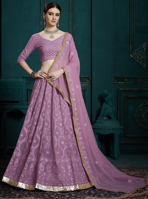Bewitching Lavender Thread Embroidered Georgette Semi Stitched Lehenga Choli With Dupatta