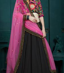 Marvelous Black Thread Embroidery Georgette Semi Stitched bridal lehenga Choli For Party Wear