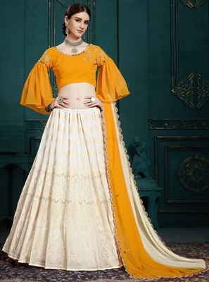 White thread and Sequins embroidered Georgette semi stitched lehenga