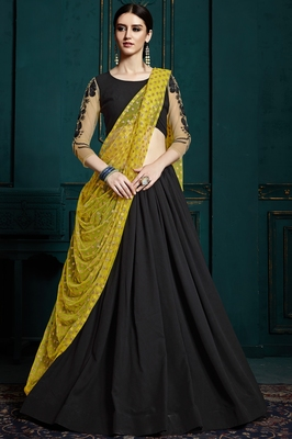 Black thread and glitter sequins embroidered Georgette semi stitched lehenga choli with dupatta