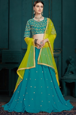 Mesmerizing Blue thread embroidery Georgette semi stitched lehenga choli for party wear