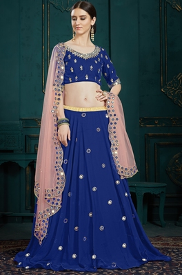 Navy Blue Zari And Sequins Embroidered Georgette Semi Stitched bridal lehenga