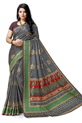 Grey printed tussar silk saree with blouse