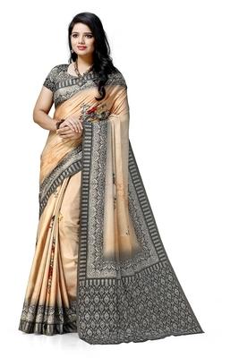 Peach printed tussar silk saree with blouse