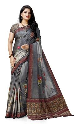 Grey printed tussar silk saree with blouse