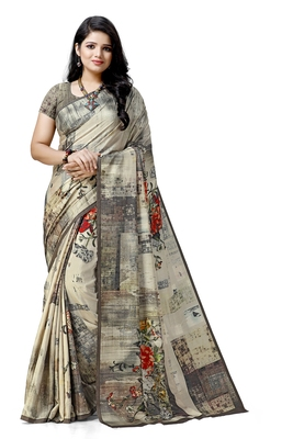 Cream printed tussar silk saree with blouse