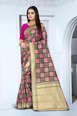 pink and black color Banarasi silk saree