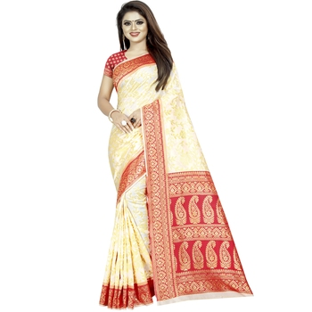 White woven art silk saree with blouse
