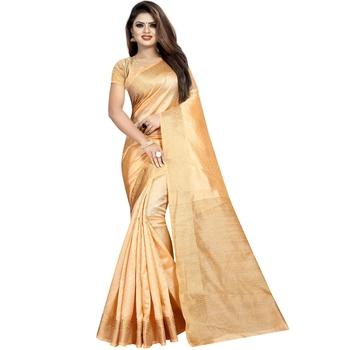 Golden woven tussar silk saree with blouse
