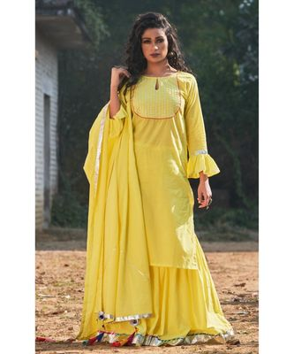GARDEN YELLOW SHARARA SET