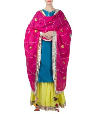 Blue Green Sharara Suit-Set of three