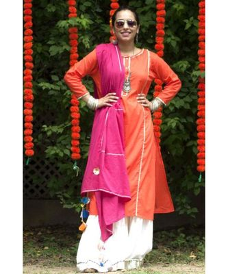 Orange and Pink Sharara Suit-Set of three