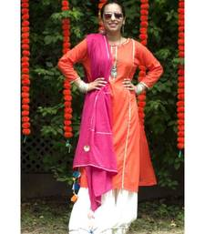 Orange and Pink Sharara Suit-Set of three