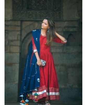 Red Anarkali Set with Gota work