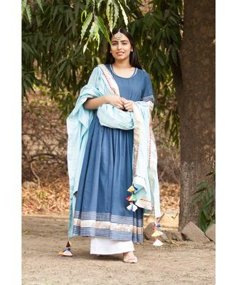 Indigo Anarkali Set-Set of three_x005F_x000D_