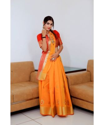 orange woven raw silk saree with blouse
