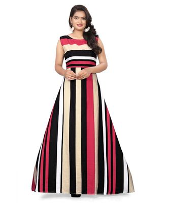 multicolor strips crepe readymade gown