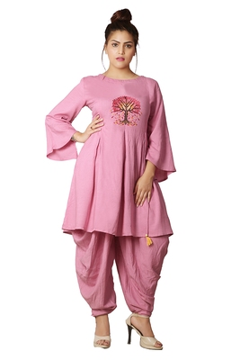 Pink Dhoti Kurta Set For Women