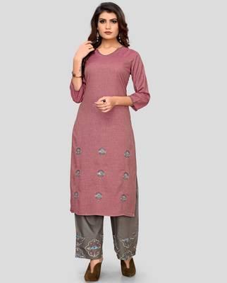 Pink & Grey Embroidered Rayon Stitched Straight Women's Kurta With Palazzo Set