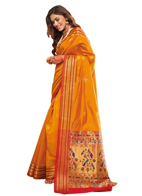 Yellow brasso silk saree with blouse
