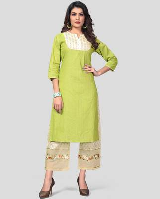 Parrot Green & Beige Embroidered Cotton Stitched Straight Women's Kurta With Palazzo Set