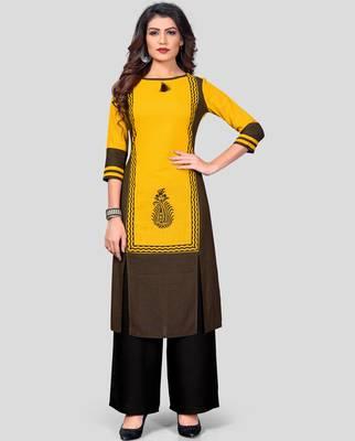 Yellow & Black Printed Rayon Stitched Straight Women's Kurta With Palazzo Set