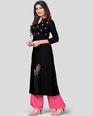 Black & Peach Embroidered Rayon Stitched A-Line Women's Kurta With Palazzo Set