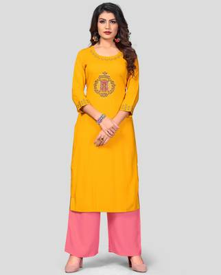 Yellow & Peach Embroidered Rayon Stitched Straight Women's Kurta With Palazzo Set