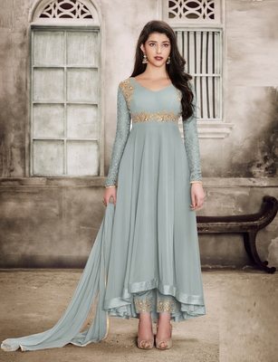 Grey Embroidered Faux Georgette Salwar With Dupatta