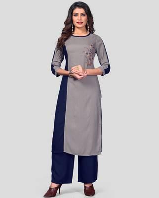 Grey & Blue Embroidered Rayon Stitched Straight Women's Kurta With Palazzo Set