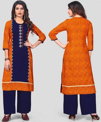 Orange & Blue Embroidered Rayon Stitched Straight Women's Kurta With Palazzo Set