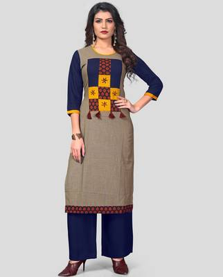 Multicolor & Blue Printed Slub Cotton Stitched Straight Women's Kurta With Palazzo Set