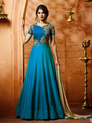 Turquoise Embroidered Silk Salwar With Dupatta
