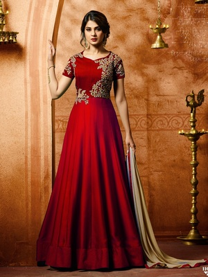 Red Embroidered Silk Salwar With Dupatta