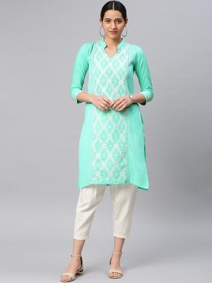 Sea-green embroidered cotton chikankari-kurtis