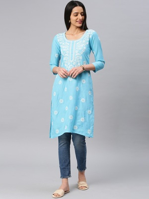 Sky-blue embroidered cotton chikankari-kurtis