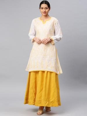 Mustard embroidered cotton chikankari-kurtis