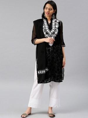 Black embroidered georgette chikankari-kurtis
