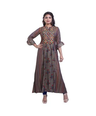 beige Printed Maxi Dress For Women
