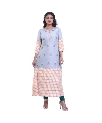 Grey embroidered Kurta  For Women