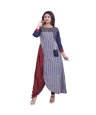 Blue embroidered Layered Kurta For Women