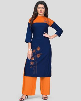 Blue & Orange Embroidered Rayon Stitched Straight Women's Kurta With Palazzo Set