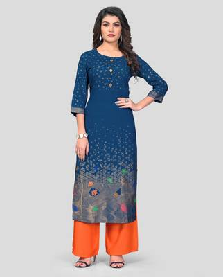 Aqua & Orange Printed Rayon Stitched Straight Women's Kurta With Palazzo Set