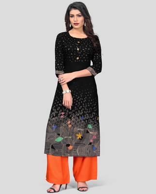 Black & Orange Printed Rayon Stitched Straight Women's Kurta With Palazzo Set