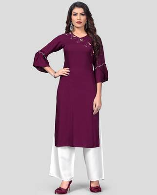 Purple & White Solid And Hand Work Rayon Stitched Straight Women's Kurta With Palazzo Set