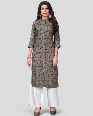Grey & White Solid And Hand Work Rayon Stitched Straight Women's Kurta With Palazzo Set